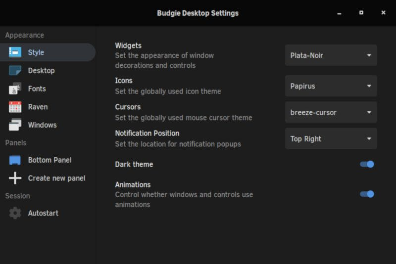Budgie Desktop Settings