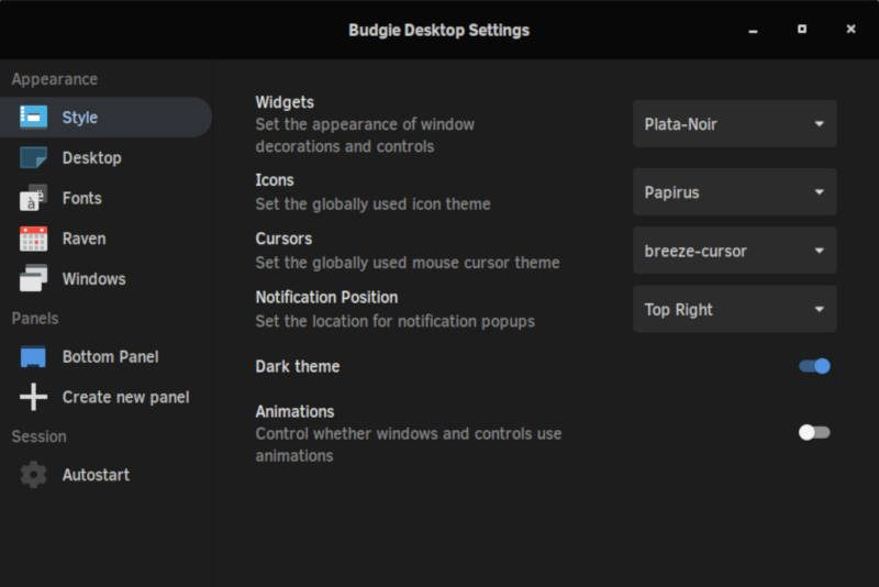 Budgie desktop.settings
