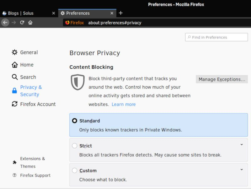 Privacy settings in Firefox